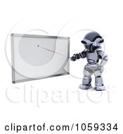 Royalty Free CGI Clip Art Illustration Of A 3d Robot Pointing To A White Board