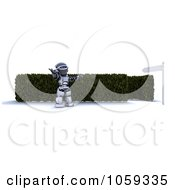 Royalty Free CGI Clip Art Illustration Of A 3d Robot Welcoming You Into A Maze