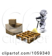 Royalty Free CGI Clip Art Illustration Of A 3d Robot Pushing A Crate To Boxes