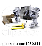 Royalty Free CGI Clip Art Illustration Of 3d Robots Loading Packages