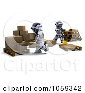 Royalty Free CGI Clip Art Illustration Of 3d Robots Moving Packages