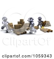 Royalty Free CGI Clip Art Illustration Of 3d Robots Organizing Packages