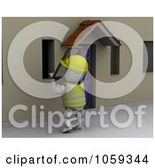 Royalty Free CGI Clip Art Illustration Of A 3d White Character Installing A Window Screen