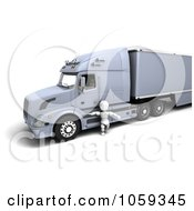 Royalty Free CGI Clip Art Illustration Of A 3d White Character Truck Driver By A Big Rig