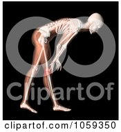 Royalty Free CGI Clip Art Illustration Of A 3d Womans Body Bending Over With Knee Pain Highlighted