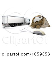 Royalty Free CGI Clip Art Illustration Of A 3d Computer Mouse Packages Globe And Big Rig