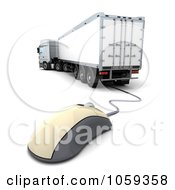 Royalty Free CGI Clip Art Illustration Of A 3d Computer Mouse And Big Rig