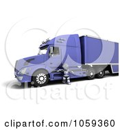 Royalty Free CGI Clip Art Illustration Of A 3d Robot Truck Driver Standing By A Big Rig