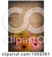 Royalty Free CGI Clip Art Illustration Of A Grungy Background With Stained Paper And Daisies