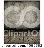 Royalty Free CGI Clip Art Illustration Of A Sepia Background Of Grungy Wood Floors And Tiled Wall