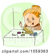 Royalty Free Vector Clip Art Illustration Of A Seamstress Sewing