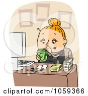 Royalty Free Vector Clip Art Illustration Of An Accountant Holding Cash by BNP Design Studio