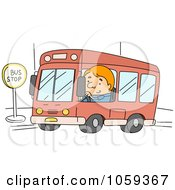 Royalty Free Vector Clip Art Illustration Of A Bus Driver Stopping