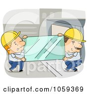Royalty Free Vector Clip Art Illustration Of Two Glaziers Carrying Glass