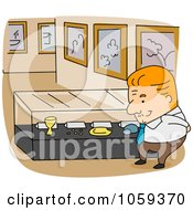 Royalty Free Vector Clip Art Illustration Of An Archivist Man By A Display