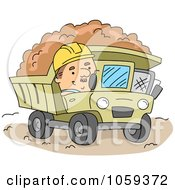 Royalty Free Vector Clip Art Illustration Of A Construction Worker Operating A Dump Truck by BNP Design Studio