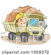 Construction Worker Operating A Dump Truck