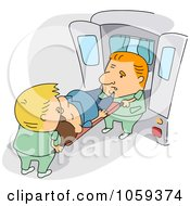 Royalty Free Vector Clip Art Illustration Of Paramedics Loading A Patient Into An Ambulance