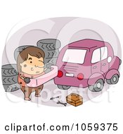 Royalty Free Vector Clip Art Illustration Of A Car Mechanic Carrying A Bumper by BNP Design Studio