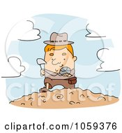Royalty Free Vector Clip Art Illustration Of A Geologist Discovering