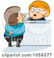 Royalty Free Vector Clip Art Illustration Of A Bank Teller Assisting A Customer by BNP Design Studio