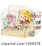 Royalty Free Vector Clip Art Illustration Of A Shoe Designer Drawing by BNP Design Studio