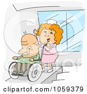 Royalty Free Vector Clip Art Illustration Of A Nurse Pushing A Man In A Wheelchair