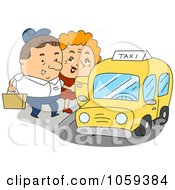 Royalty Free Vector Clip Art Illustration Of A Taxi Driver Assisting A Woman by BNP Design Studio