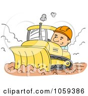 Royalty Free Vector Clip Art Illustration Of A Construction Worker Using A Bulldozer by BNP Design Studio