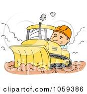 Construction Worker Using A Bulldozer