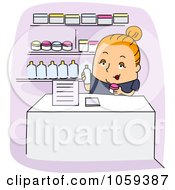 Royalty Free Vector Clip Art Illustration Of A Dermatologists Assistant Holding Products