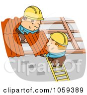 Royalty Free Vector Clip Art Illustration Of Roofers Installing Panels
