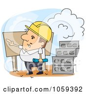 Royalty Free Vector Clip Art Illustration Of An Engineer Pointing On A Job Site