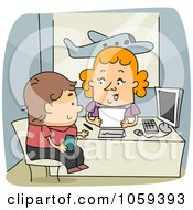 Royalty Free Vector Clip Art Illustration Of A Travel Agent Assisting A Client