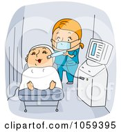 Royalty Free Vector Clip Art Illustration Of A Dermatologist Giving A Customer A Facial by BNP Design Studio