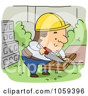 Royalty Free Vector Clip Art Illustration Of A Builder Sawing Wood