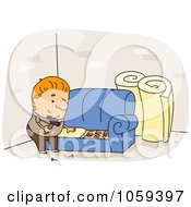 Royalty Free Vector Clip Art Illustration Of An Upholsterer Working On A Sofa