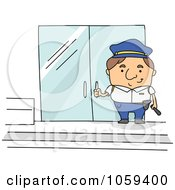 Royalty Free Vector Clip Art Illustration Of A Security Guard By Doors by BNP Design Studio