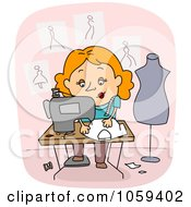 Royalty Free Vector Clip Art Illustration Of A Seamstress Using A Sewing Machine
