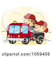 Royalty Free Vector Clip Art Illustration Of Firemen With A Fire Truck