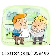 Royalty Free Vector Clip Art Illustration Of A Landscape Architect Working With A Client