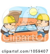 Royalty Free Vector Clip Art Illustration Of Men Installing Roof Solar Panels by BNP Design Studio