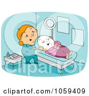 Royalty Free Vector Clip Art Illustration Of A Dermatologist With A Client by BNP Design Studio