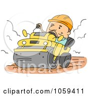 Royalty Free Vector Clip Art Illustration Of A Construction Worker Operating A Vibro Roller by BNP Design Studio