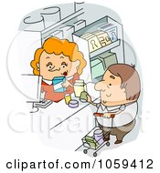 Royalty Free Vector Clip Art Illustration Of A Cashier Checking Out A Grocery Shopper