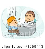Royalty Free Vector Clip Art Illustration Of A Dentist Discussing Hygiene With A Patient by BNP Design Studio