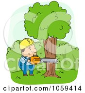 Logger Cutting Down A Tree
