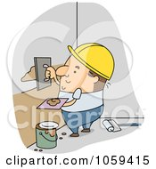 Royalty Free Vector Clip Art Illustration Of A Builder Applying Plaster by BNP Design Studio