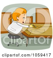 Royalty Free Vector Clip Art Illustration Of An Art Restorer At Work