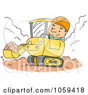 Royalty Free Vector Clip Art Illustration Of A Construction Worker Using A Backhoe by BNP Design Studio